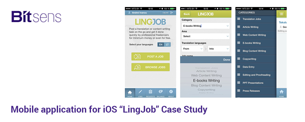 "Mobile application for iOS ""LingJob"" Case Study"